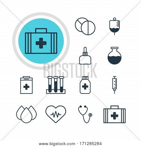 Vector Illustration Of 12 Medicine Icons. Editable Pack Of Medicine Jar, Trickle, Experiment Flask And Other Elements.