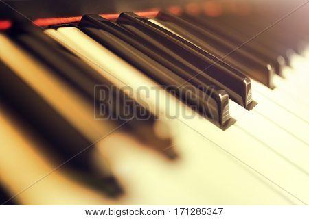 Piano keyboard keys close up