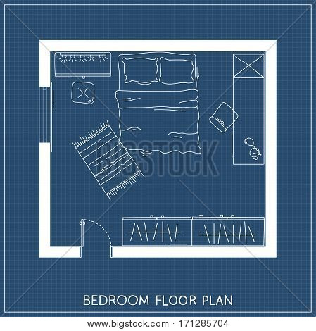 Bedroom with hand-drawn furniture in top view. Architectural plan. Vector illustration
