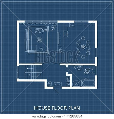 House plan with hand-drawn furniture in top view. Architectural plan. Vector illustration