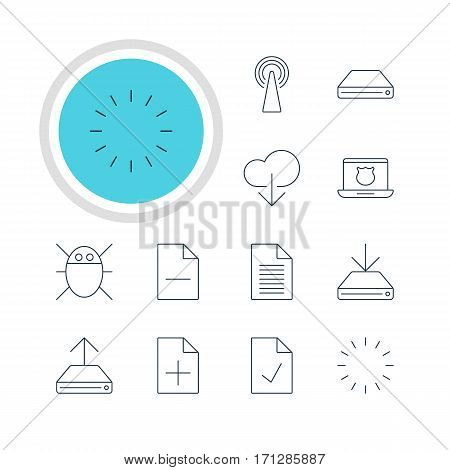 Vector Illustration Of 12 Internet Icons. Editable Pack Of Waiting, Checked Note, Removing File And Other Elements.