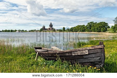 on a summer day boat on the lake Museum reserve Kizhi