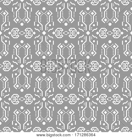 Abstract tribe ornament seamless vector pattern. Soft grey and white tileable openwork background.