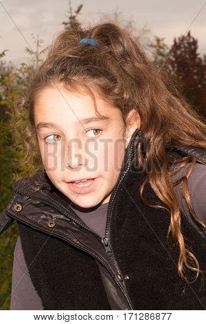 Girl Girl Curly Outside In The Summer