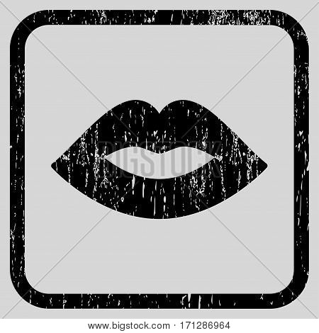 Lips rubber watermark. Vector pictogram symbol inside rounded rectangular frame with grunge design and scratched texture. Stamp seal illustration. Unclean black ink sign on a light gray background.