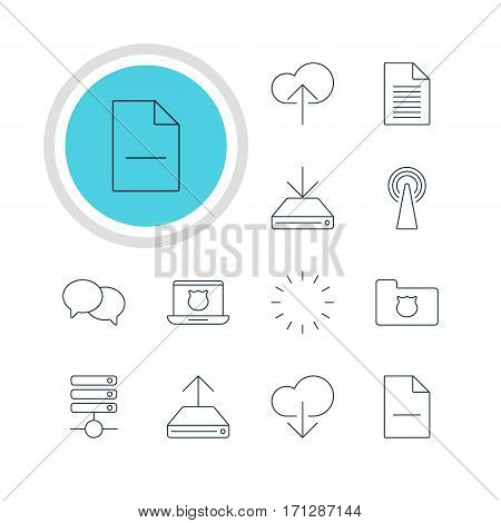 Vector Illustration Of 12 Network Icons. Editable Pack Of Cloud Download, Note, Server And Other Elements.