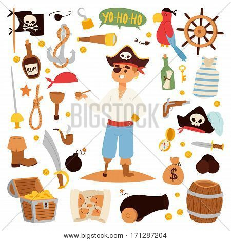 Pirate character design with icons element. Typographic design skull captain drawing male with treasure vector illustration. Person armed adventure costume.