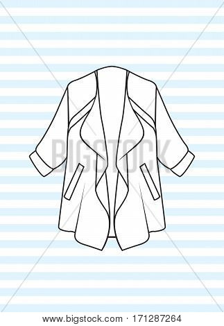 Female oversize jacket vector illustration, in casual style