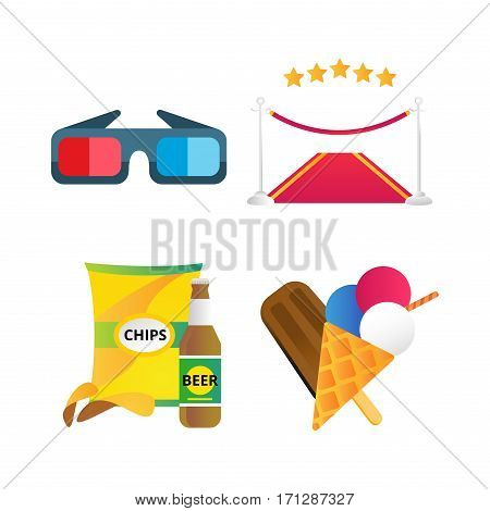 Fast food and film cinema technology vector. Movie entertainment 3d glasses and red road illustration. Cinematography roll old art box. Fast food icons.