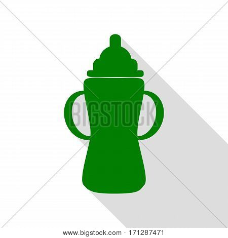 Baby bottle sign. Green icon with flat style shadow path.