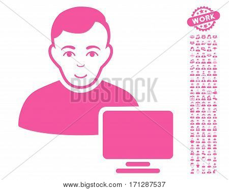 Computer Administrator icon with bonus occupation pictograph collection. Vector illustration style is flat iconic pink symbols on white background.