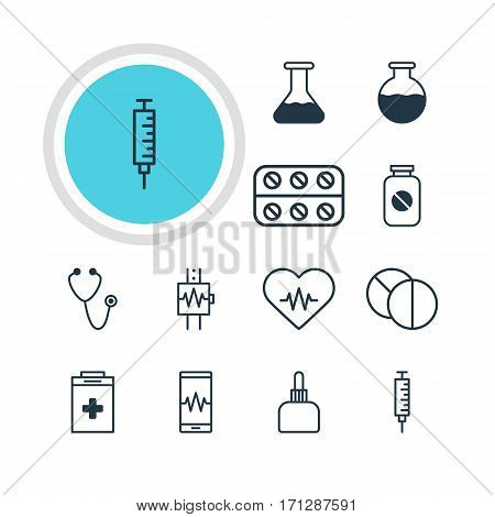 Vector Illustration Of 12 Medical Icons. Editable Pack Of Pulse, Flask, Vial And Other Elements.