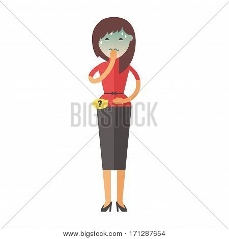 Illness flu woman feeling cold and blowing his nose vector illustration. Healthcare blowing sneeze symptom sickness temperature person. Influenza allergy male.