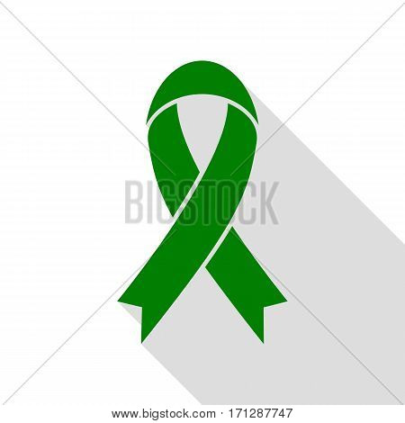 Black awareness ribbon sign. Green icon with flat style shadow path.