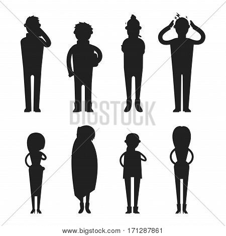 Illness flu people feeling cold silhouette vector illustration. Healthcare blowing sneeze symptom sickness temperature person. Influenza allergy male.