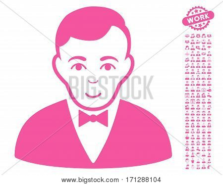 Dealer icon with bonus people pictograms. Vector illustration style is flat iconic pink symbols on white background.