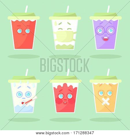 Set of colored lemonade with emotions. Without mouth in a medical mask botanist with thermometr confused with mouth sealed. Closed green cover with straw. Cartoon