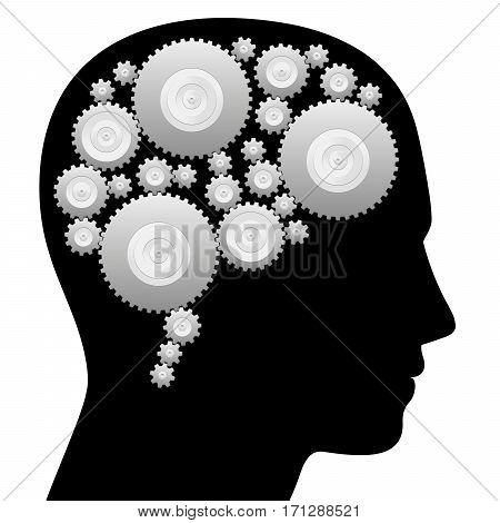 Brain with cog wheels - thinking machine - isolated vector illustration on white background.