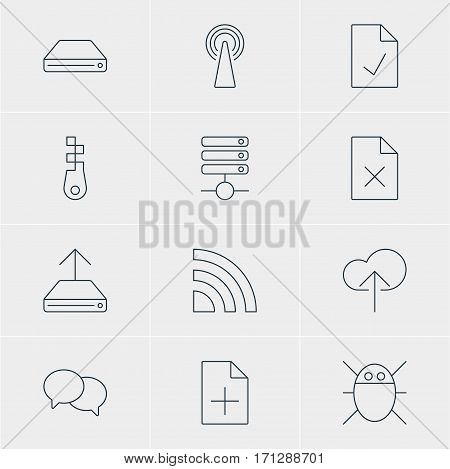 Vector Illustration Of 12 Web Icons. Editable Pack Of Router, Fastener, Hdd Sync And Other Elements.