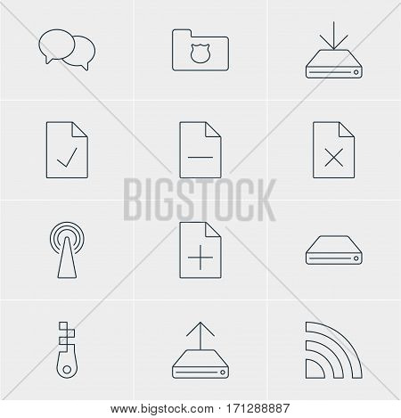 Vector Illustration Of 12 Internet Icons. Editable Pack Of Wireless Network, Talking, Router And Other Elements.