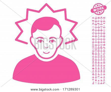 Inventor icon with bonus human pictures. Vector illustration style is flat iconic pink symbols on white background.