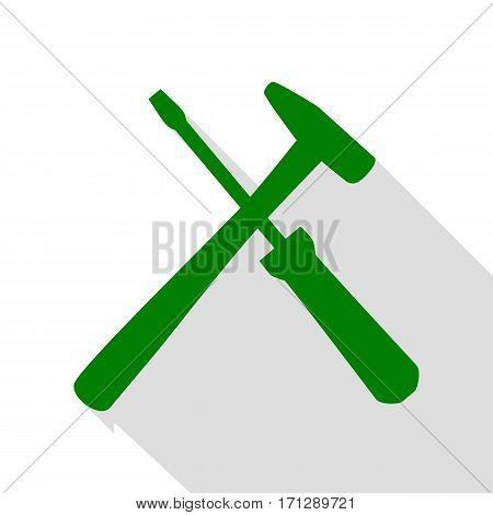 Tools sign illustration. Green icon with flat style shadow path.