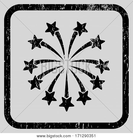 Spherical Fireworks rubber watermark. Vector icon symbol inside rounded rectangle with grunge design and dirty texture. Stamp seal illustration. Unclean black ink sign on a light gray background.