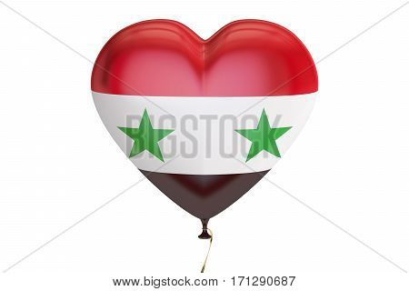balloon with Syria flag in the shape of heart 3D rendering isolated on white background