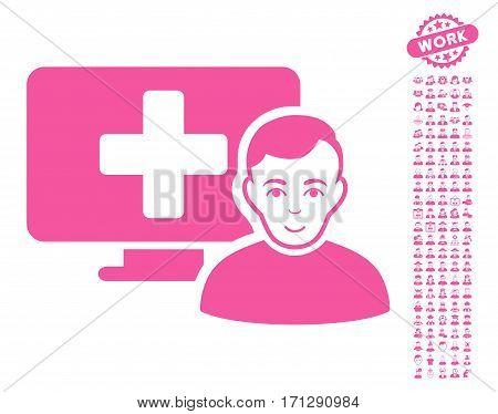 Online Medicine icon with bonus occupation icon set. Vector illustration style is flat iconic pink symbols on white background.