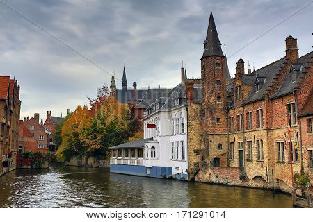 Medieval city Bruges in the fall. Belgium.