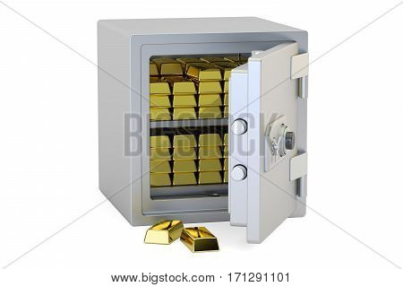 Safe Box With Golden Ingots 3D rendering isolated on white background