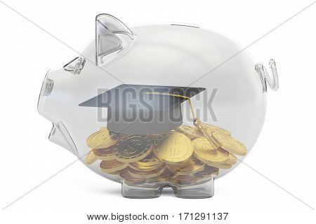 savings money for education concept 3D rendering isolated on white background