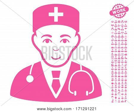 Physician icon with bonus people design elements. Vector illustration style is flat iconic pink symbols on white background.