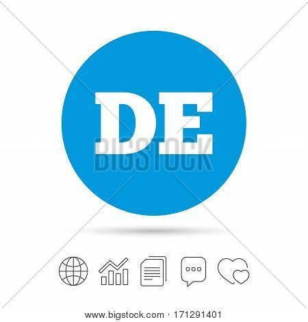 German language sign icon. DE Deutschland translation symbol. Copy files, chat speech bubble and chart web icons. Vector