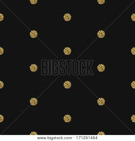 Gold foil shimmer glitter polkadot dark seamless pattern. Vector shimmer abstract circles grey texture. Sparkle shiny balls background.