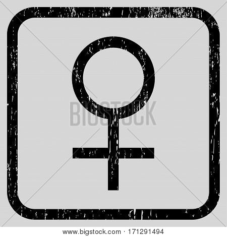 Venus Female Symbol rubber watermark. Vector icon symbol inside rounded rectangle with grunge design and unclean texture. Stamp seal illustration. Unclean black ink sign on a light gray background.