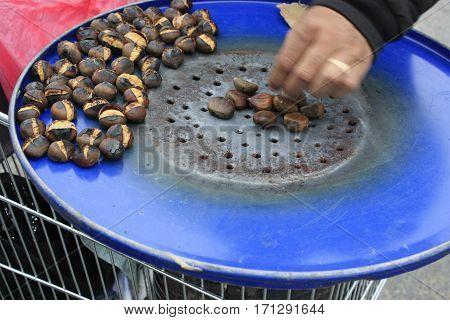 Chestnut Roasting Food Hot Autum Spring