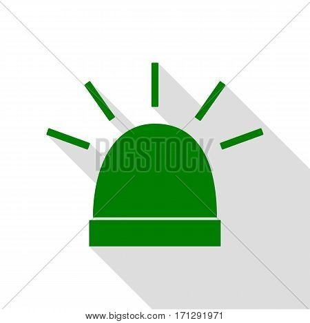 Police single sign. Green icon with flat style shadow path.