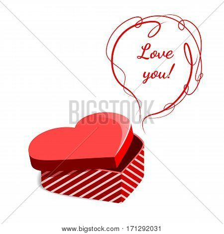 Red Gift Box In The Form Of Heart. Gift Valentines Day.