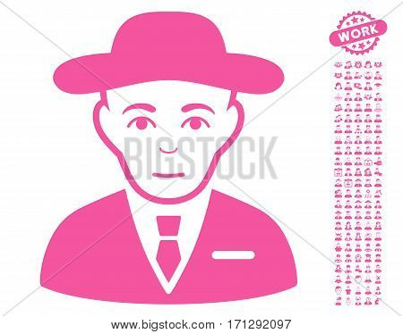 Secret Service Agent icon with bonus people pictures. Vector illustration style is flat iconic pink symbols on white background.