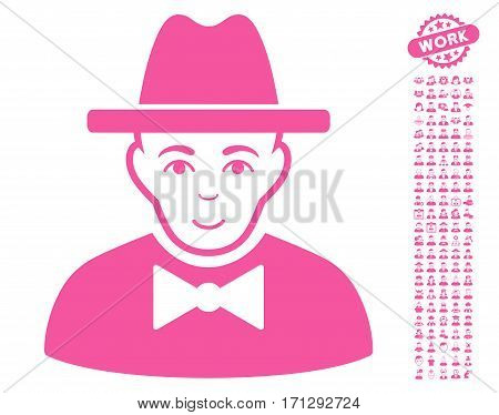 Spy pictograph with bonus occupation graphic icons. Vector illustration style is flat iconic pink symbols on white background.