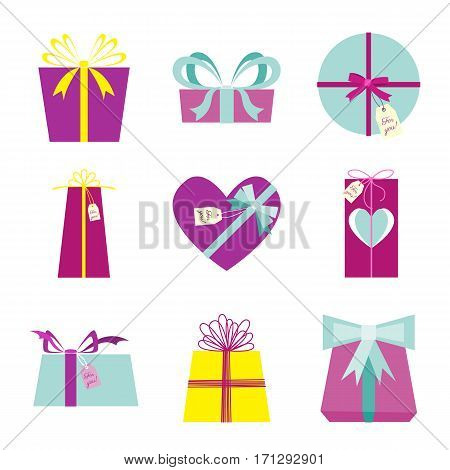 Set Of Gift Boxes. Presents For Birthday, Valentine's Day.