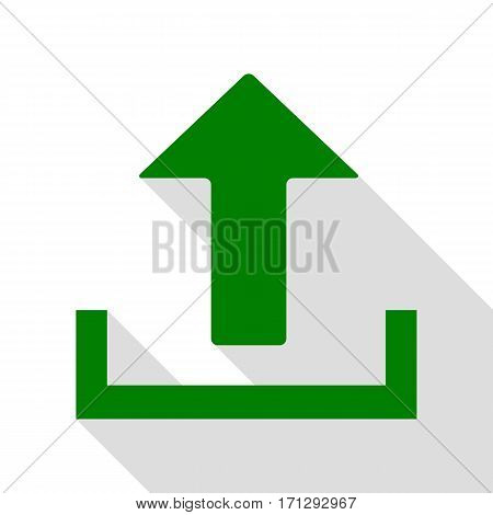 Upload sign illustration. Green icon with flat style shadow path.