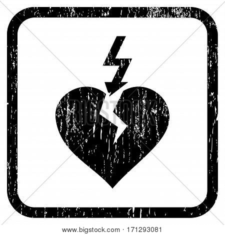 Break Heart rubber watermark. Vector pictogram symbol inside rounded rectangle with grunge design and unclean texture. Stamp seal illustration. Unclean black ink sign on a white background.