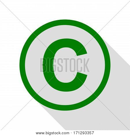 Copyright sign illustration. Green icon with flat style shadow path.