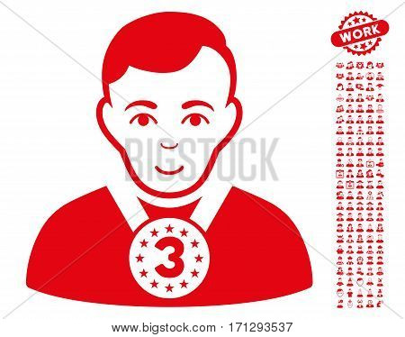 3rd Prizer Sportsman icon with bonus avatar pictograph collection. Vector illustration style is flat iconic red symbols on white background.