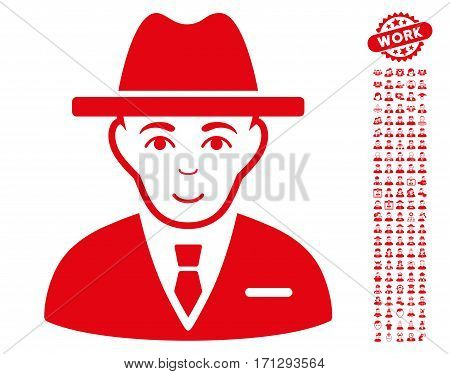Agent icon with bonus occupation clip art. Vector illustration style is flat iconic red symbols on white background.
