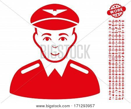 Aviator pictograph with bonus people pictograph collection. Vector illustration style is flat iconic red symbols on white background.
