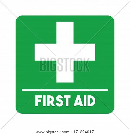 first aid emblem with cross icon over white background. colorful design. vector illustration