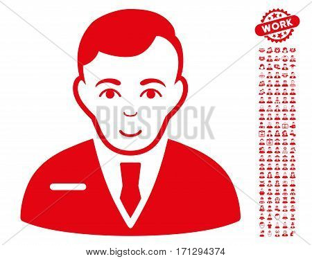 Businessman pictograph with bonus avatar clip art. Vector illustration style is flat iconic red symbols on white background.